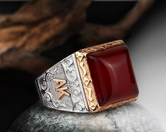 Personalized Silver Ring With Individual 10k GOLD Initials Mens Gemstone Handmade Vintage Ottoman Style :FREE Shipping via FedEx 59522