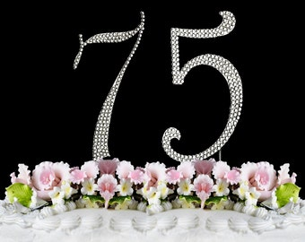 New Large Rhinestone Number 75 Cake Topper 75th Birthday