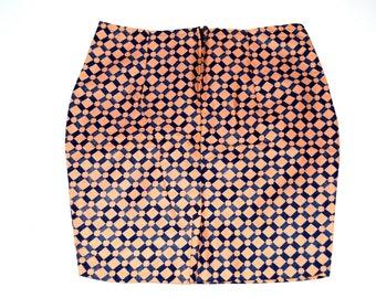 African Wax Print Skirt, Peach Skirt, Ankara Print Mini Skirt, African Skirt,  Ankara Pencil Skirt, Handmade Skirt,