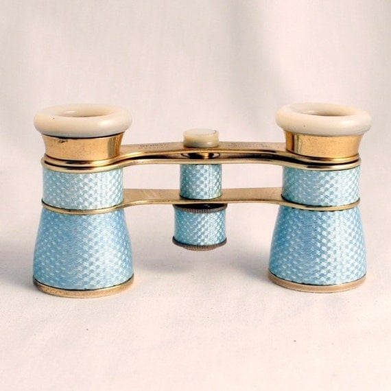 Art Deco Guilloche Enamel Opera Glasses Baby Blue By Busch Germany 1930