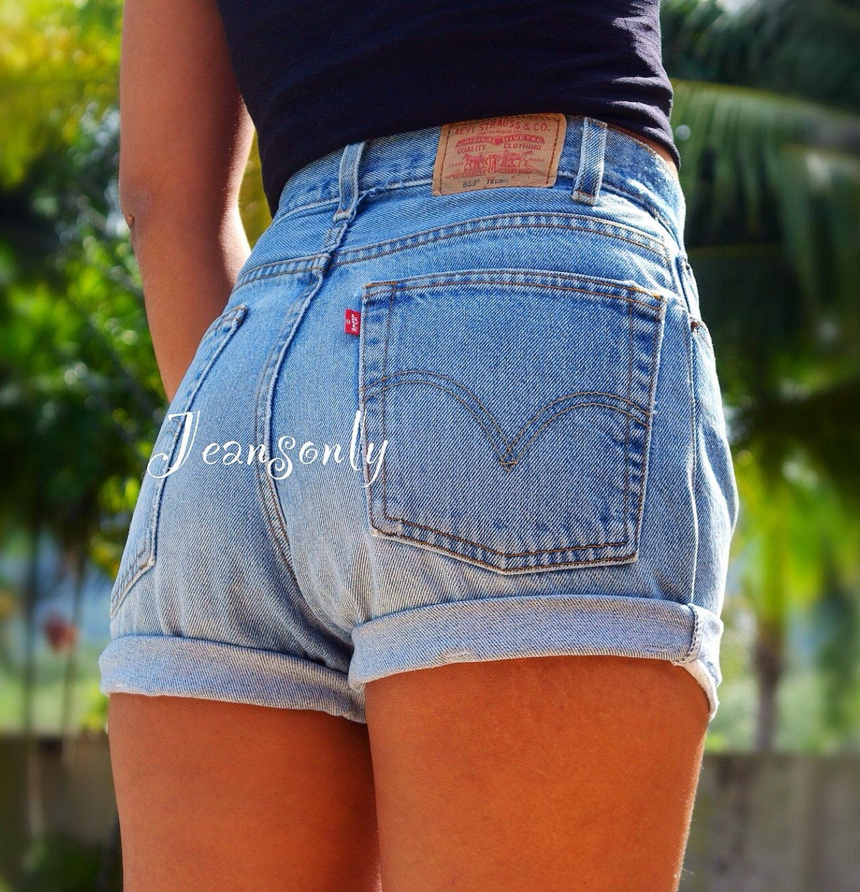 levis high waisted cuffed denim shorts rolled up by jeansonly. Black Bedroom Furniture Sets. Home Design Ideas