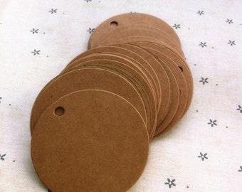LARGE Round brown kraft tag / cardboard tags in set of 50