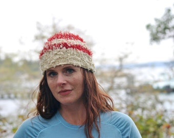 Hand-Knit Hat in Ivory and Red