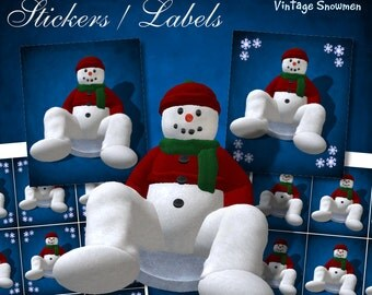 Snowman on Snow Disc Stickers - Digital Download