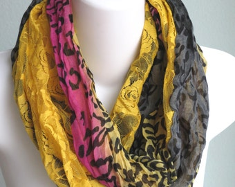 Infinity Animal Print Scarf Woman Scarf Accessories Fancy Scarf Lace Scarf Animal Print