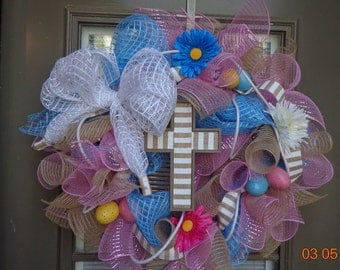 Deco mesh easter and spring wreath(on sale now 40 was 48)