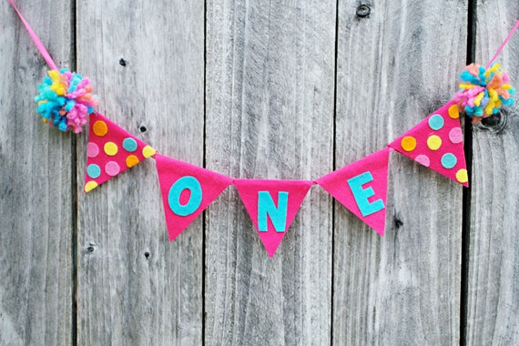 Girls 1st Birthday High Chair Banner - First Birthday Small Banner - Photo Prop - Cake Smash
