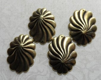 """Vintage gold plate brass stamped swirl dome earrings,7/th""""x5/8th"""",4pcs-ERG76"""