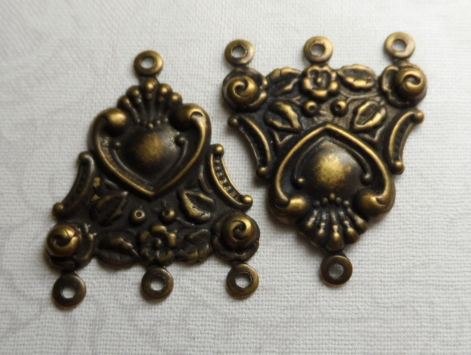 Large fancy vintage gold or silver plate brass connectors