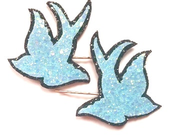 10% off with the code BDAY10  Glittered Rockabilly Swallow Bobby Pins