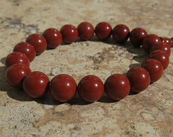 Red Jasper 10mm Mala Prayer beads with sliding adjustable closure, 18 beads. Wrist Mala. Nurturing, Tranquility and Wholeness. Adjustable