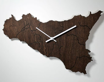 SICILY Map WALL CLOCK - Country - Laser Cut - Wood