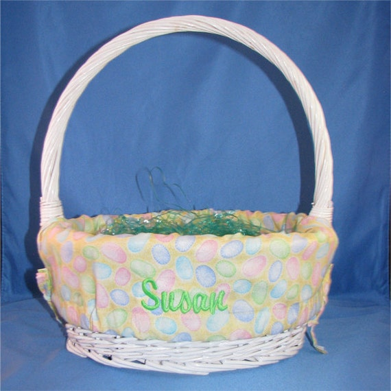 Easter Basket Liner Personalized Easter By Embroiderystation1