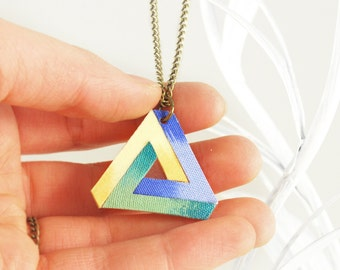 Penrose Triangle necklace Pastel Blue Green Turquoise Mint Yellow manufactured and hand-painted
