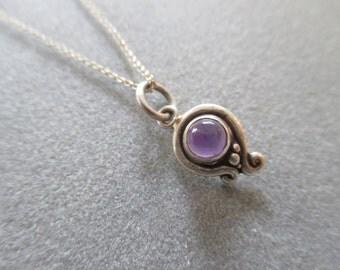 Sterling Silver Asymmetrical  Swirl Amethyst Charm Pendant, February Birthstone #PDT81SS
