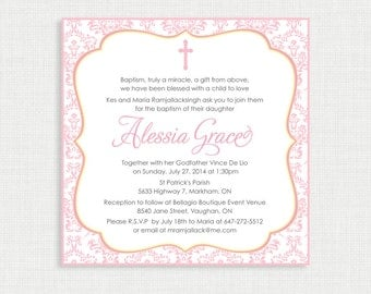 Printable Baptism Invitation  Girls Baptism Invitation   Baby Dedication,  First Communion, Confirmation,