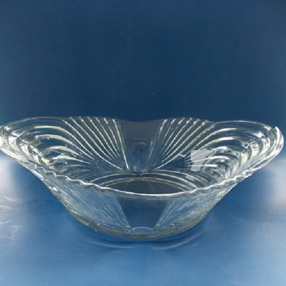 Vintage pressed glass centerpiece bowl by invitinglyvintage