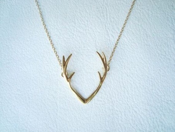 14k gold deer antler necklace deer necklace by chillsjewellery