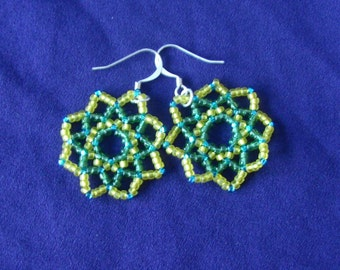 Yellow and Green Beaded Earrings with Teal Highlights