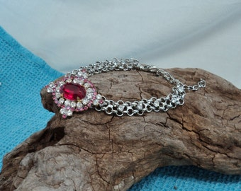 Gorgeous Czech Button Red Pink Clear Glass Stones with Silver Toned Bracelet Clear Rhinestones Lobster Claw Closure