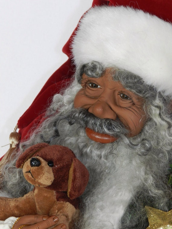 Items similar to african american santa hand sculpted