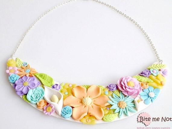OOAK Polymer Clay Spring Flower Statement Necklace, Flowers Jewelry, Spring Accessories, Flowers Necklace, Spring Necklace, Mini Flowers
