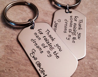 Set of mother in as keychains thank you for raising the man of my my dreams woman of my dreams personalized keychains mother in law father