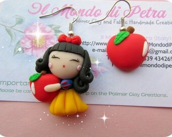 Snow White and red Apple Kawaii Earrings Polymer Clay