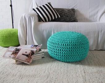 Aqua Turquoise Crochet Pouf Aqua Crochet Floor Cushions