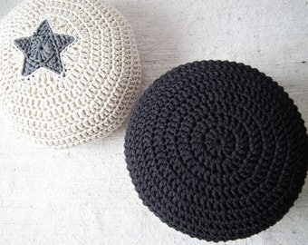 Black/ Antracite Crochet Pouf - Living Room Crochet Floor Cushions - Knitted Ottoman Footstool - Eco friendly Furniture Home Decor