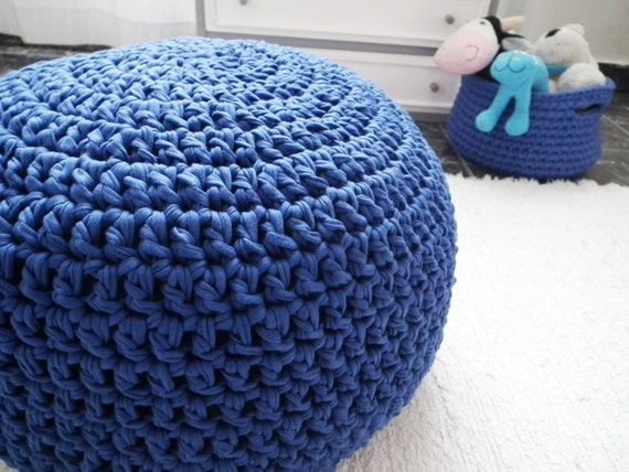 Cobalt Blue Crochet Pouf Ottoman - Royal Blue Crochet Floor Cushions ...