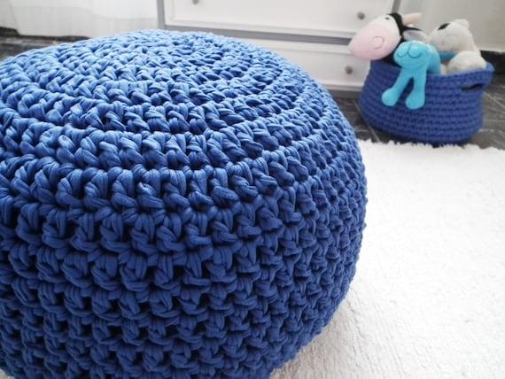 Crochet Ottoman : Cobalt Blue Crochet Pouf Ottoman - Royal Blue Crochet Floor Cushions ...