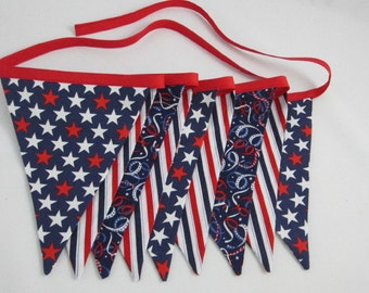 Patriotic Bunting, Stars & Stripes, Red White and Blue, Soldier Homecoming, Memorial Day, July 4, Reusable Fabric Banner