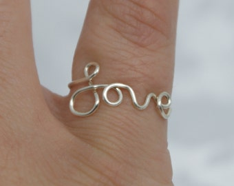 Love ring, wire love ring, silver plated, wire word ring, wire ring, adjustable ring, wire letters, letter rings, word ring, love, ring