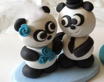 wedding cake topper love pandas Clay
