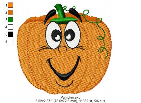 Funny face pumpkin machine embroidery design by