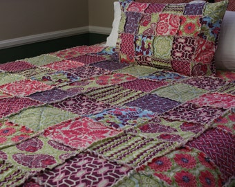 Full Size Quilt, Rag Quilt, Joel Dewberry's Heirloom in Sapphire Collection, purple, pink, and green