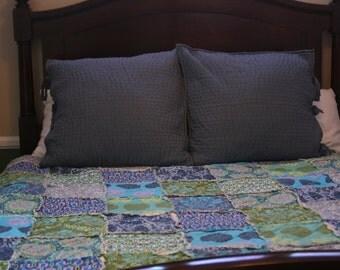 King Size Rag Quilt, Handmade, Designer, Amy Butler, Cameo, Aqua, Blue, Grey, Teal, Lime, Green, Olive