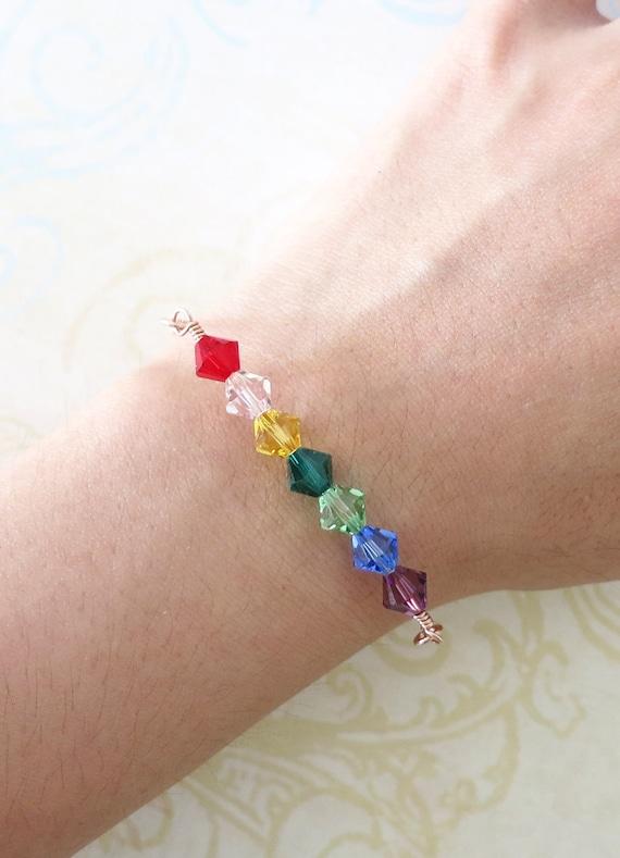 Simple Rainbow Beads on Rose Gold Bracelet - rose gold filled, Rainbow Color Swarovski Beads, Red, Orange, Yellow, Green, Blue, Purple