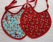 Christmas/Winter Baby Bib -Tie On Bib -Large Bib -Reversible Bib -Cotton/Flannel Bib -Ready to Ship