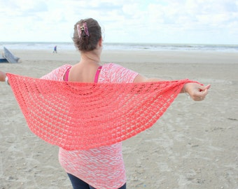 Coral Beach Shawl crochet pdf pattern INSTANT DOWNLOAD