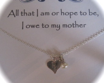 A Message to a Mother - Sterling Silver Hand Stamped Freshwater Pearl & Initial Heart Necklace