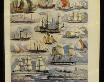 Print - Ships - French Illustration - 1949