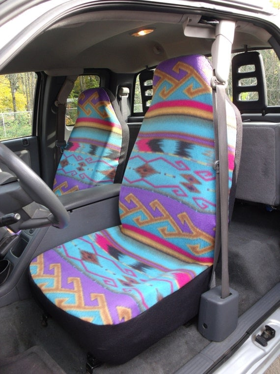 1 Set of Seat Cover and Steering Wheel Cover, Purple Turquoise Tan Aztec Print Custom Made.