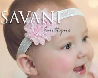 Pink shabby chic baby headband, pink flower headband, baby girl headband, newborn toddler headband