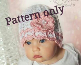 Flower power hat. Crochet baby girl hat. newborn hat. Digital pattern. sizes 0-12.