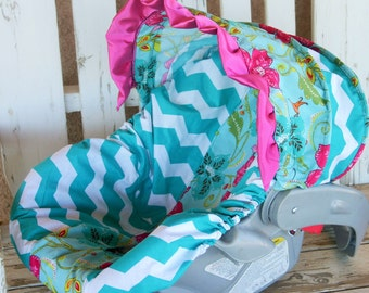 teal/turquoise chevron with flowers and birds infant car seat cover and hood cover w/ pink satin ruffle