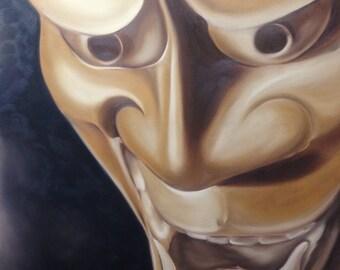Hannya Mask, Oil on canvas by Brent Jannasch & Melissa Zimmer