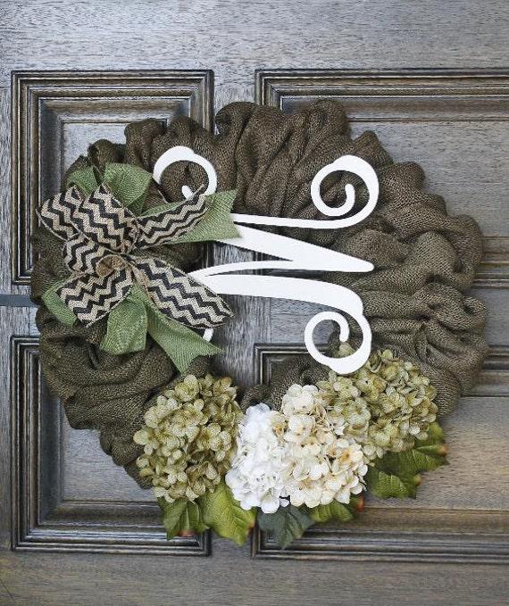 Burlap Wreath Monogram Wreathchevron Wreath Year Round