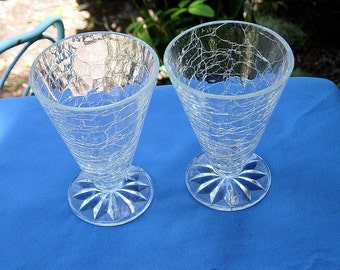 Vintage Crackle Glass Tumblers Set Of Two